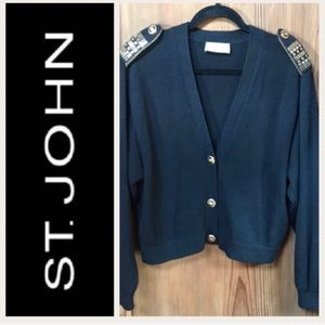 ST JOHN Knit Jacket/Cardigan Sweater with Epaulets